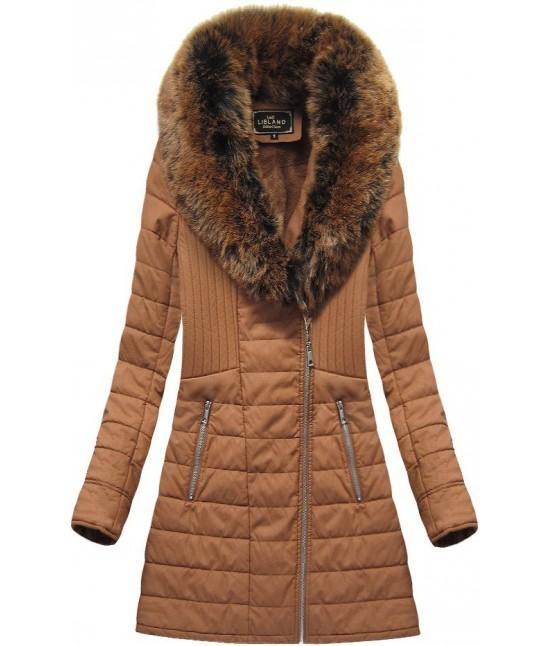 Dámska zimná bunda z eko-kože MODA520BIG hnedá
