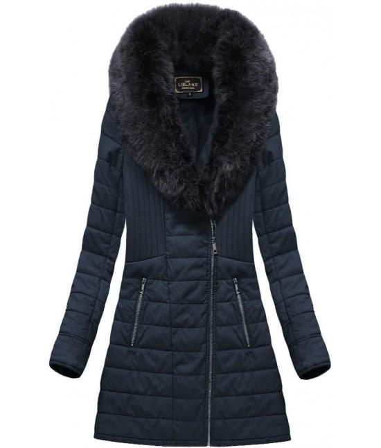 Dámska zimná bunda z eko-kože MODA520BIG modrá