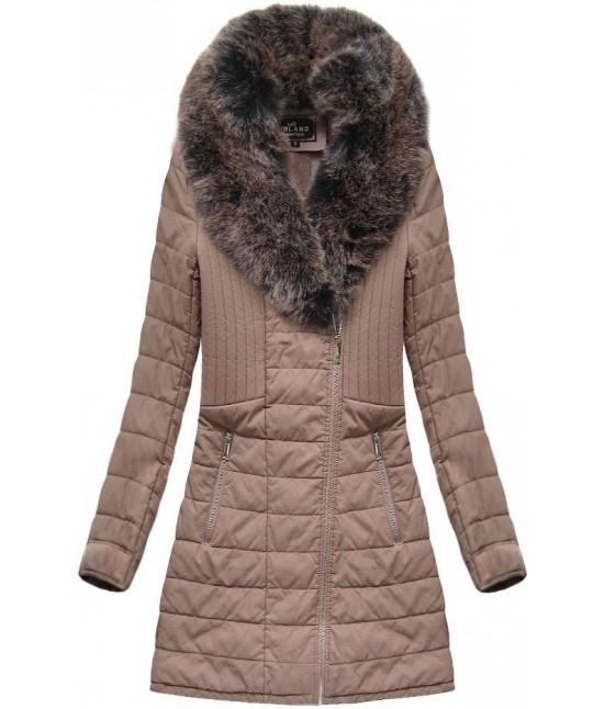 Dámska zimná bunda z eko-kože MODA520BIG staroružová