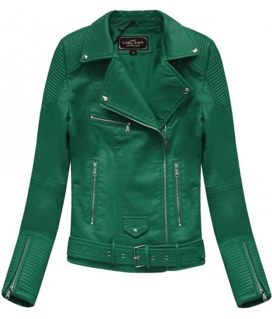 Dámska koženková bunda MODA377 zelená