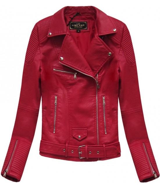 Dámska koženková bunda MODA377 červená