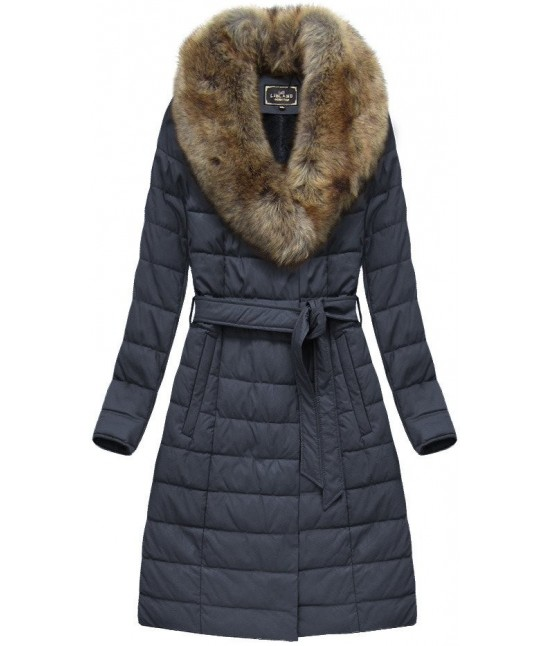 Dámska zimná bunda z eko-kože MODA528BIG modrá