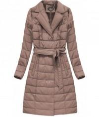 Dámska zimná bunda z eko-kože MODA528BIG staroružová