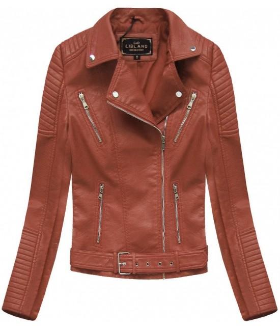 Dámska koženková bunda MODA378 hnedá