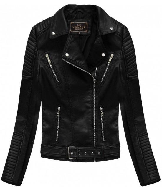 Dámska koženková bunda MODA378 čierna