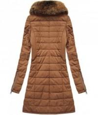 Dámska zimná bunda z eko-kože MODA520 hnedá