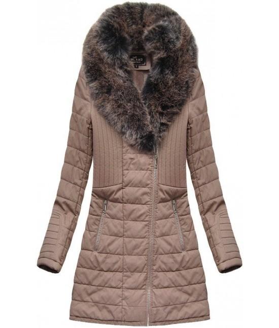 Dámska zimná bunda z eko-kože MODA520 staroružová