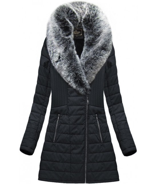 Dámska zimná bunda z eko-kože MODA520 čierna