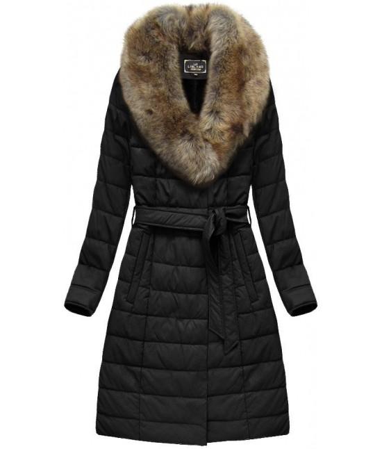 Dámska zimná bunda z eko-kože MODA528 čierna
