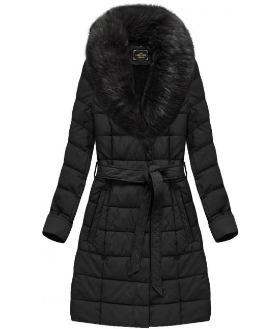 Dámska zimná bunda z eko-kože MODA527 čierna