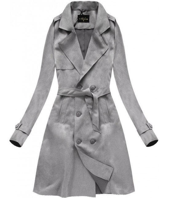 Dámska zamatový prechodný kabát MODA003 šedý