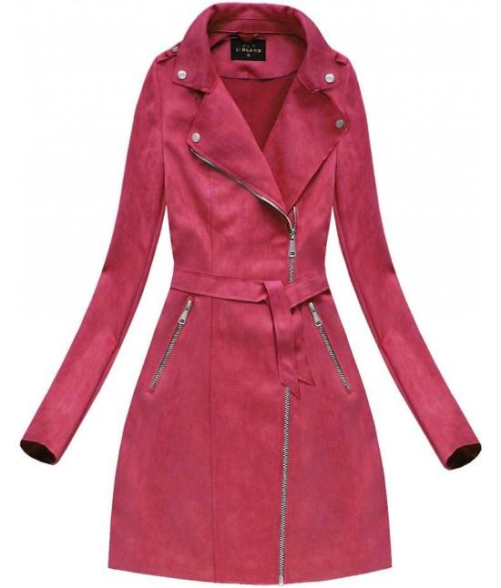 Dámsky zamatový kabát 6004BIG červený