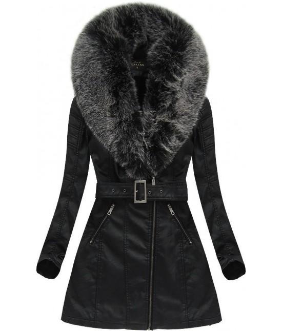 Dámska zimná koženková bunda 5518BIG čierno-šedá