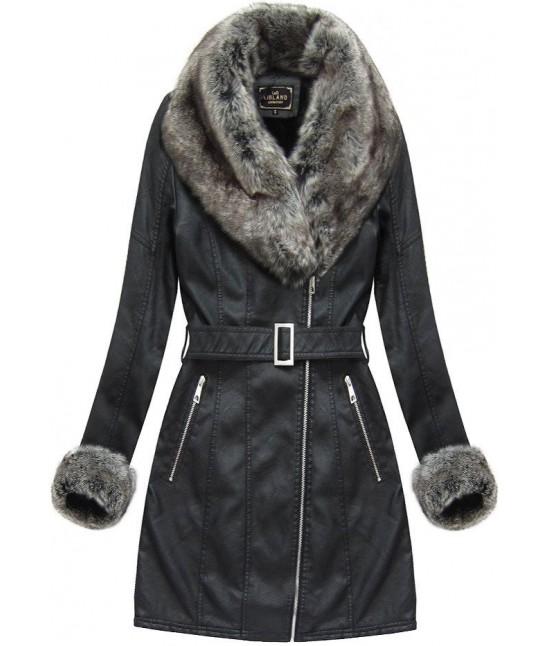 Dámska zimná koženková bunda 5524BIG čierna