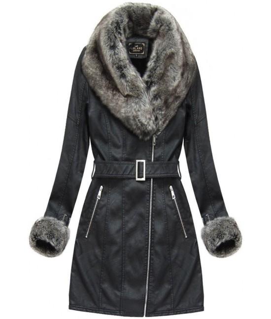 Dámska zimná koženková bunda 5524 čierna