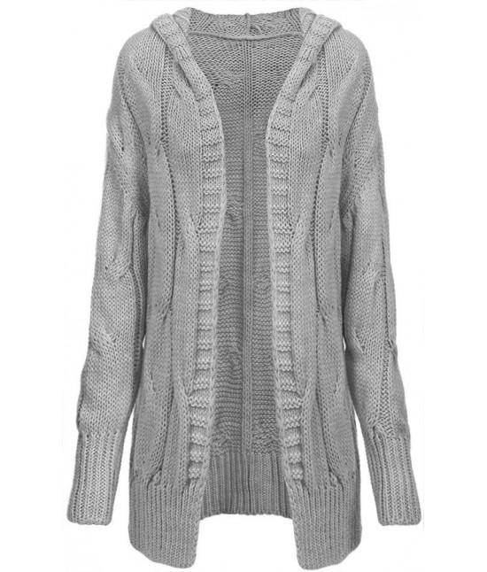 Dámsky teplý sveter kardigan 115ART šedý