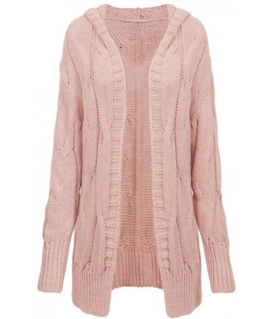 a29f096ef938 Dámsky teplý sveter kardigan 115ART ružový - Dámske oblečenie ...