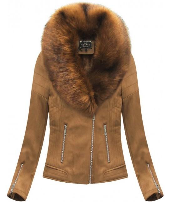 Dámska zimná zamatová bunda s kožušinou 6502 hnedá