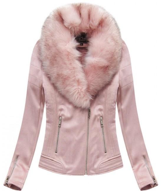 Dámska zimná zamatová bunda s kožušinou 6502 ružová