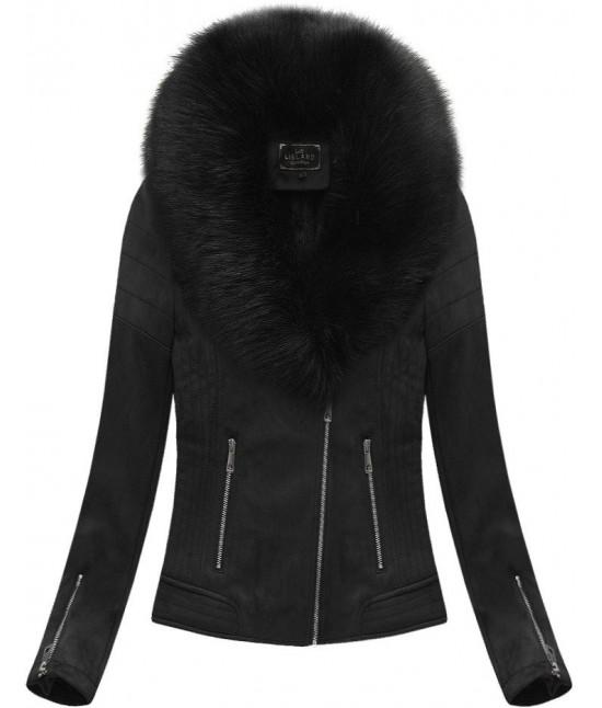 Dámska zimná zamatová bunda s kožušinou 6502 čierna
