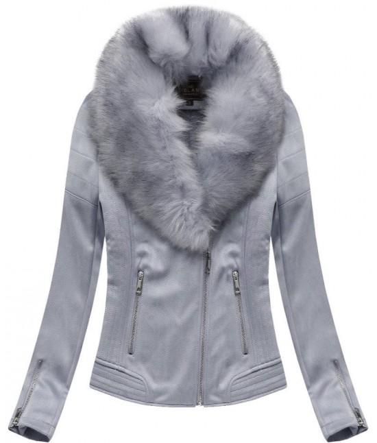 Dámska zimná zamatová bunda s kožušinou 6502 šedá