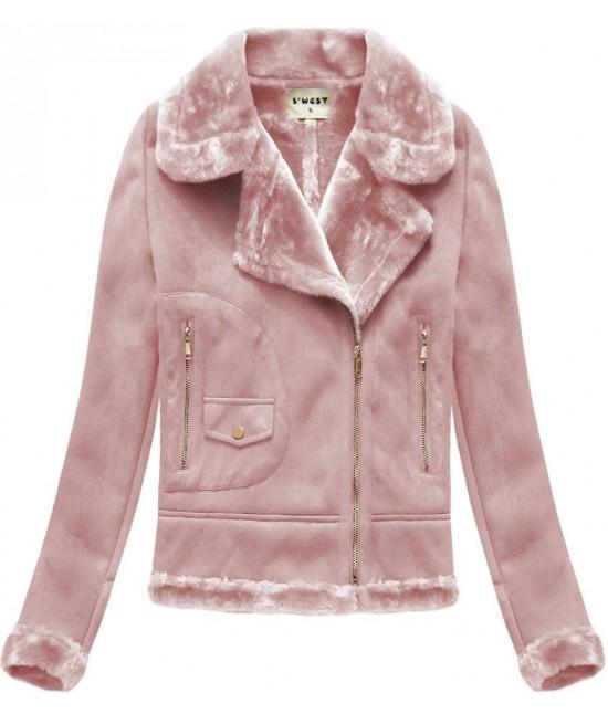 Dámska zamatová bunda 1808 ružová