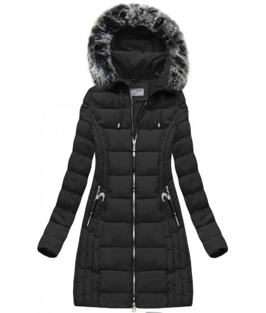 bb024ea53399 Dlhá dámska zimná bunda MODA056 čierna - Dámske oblečenie