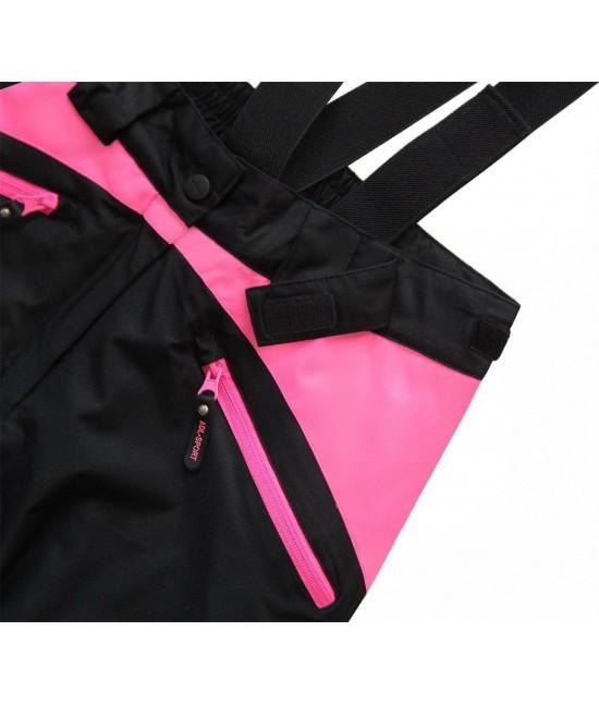 aaae2f9815aa ... Dámska lyžiarske snowboardové nohavice MODA189 čierno-ružové ...