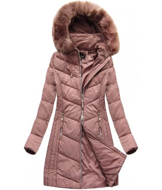 9026c80d2151 Dlhá dámska zimná bunda MODA689 staroružová