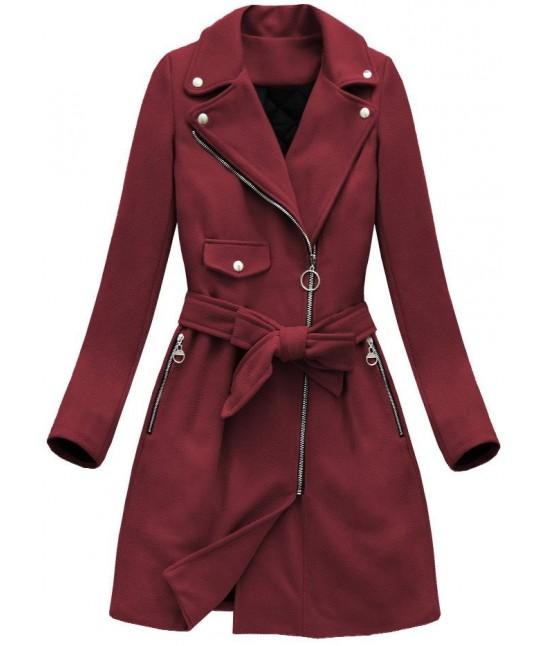 Dámsky jesenný kabát MODA8208 bordový