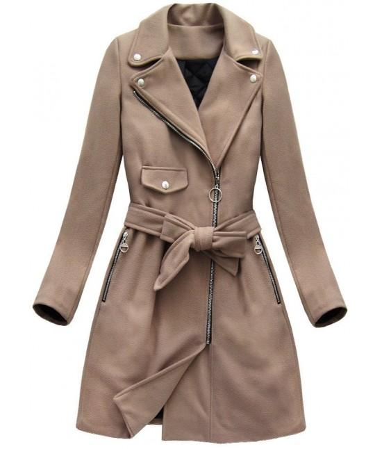 Dámsky jesenný kabát MODA8208 béžový