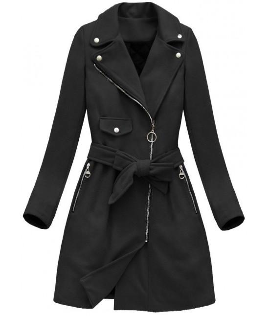 Dámsky jesenný kabát MODA8208 čierny