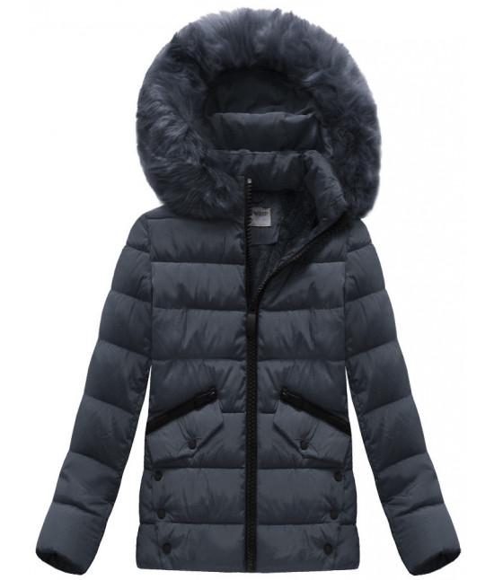 Dámska zimná bunda MODA570 tmavomodrá - Dámske oblečenie  6208bdb0c39