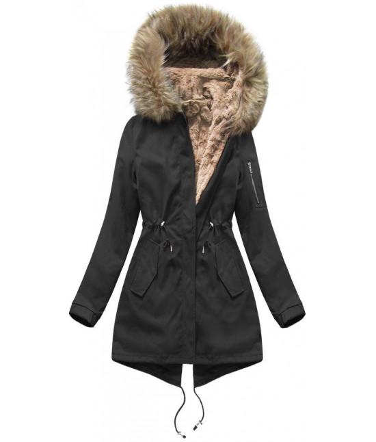 Bavlnená dámska zimná bunda parka MODA308 čierno-hnedá - Dámske ... 094a5bafa68