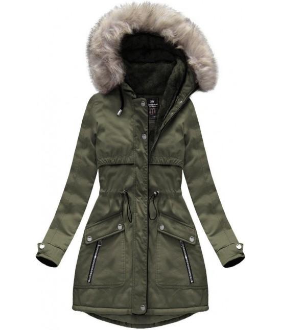 Dámska zimná bunda parka MODA633 khaki veľkosť XXL - Dámske ... f1fbba3fa01
