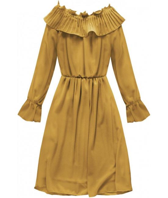 de41b83cc374 Dámske šifónové šaty s volánmi MODA139 horčicové