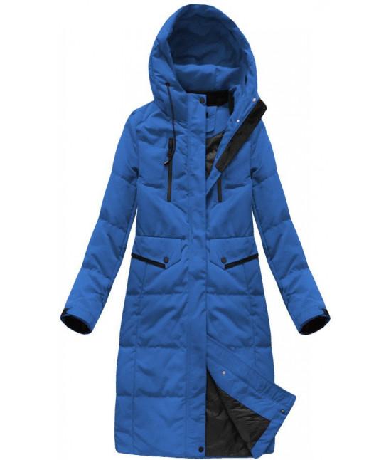 999226498 Dámska dlhá zimná bunda MODA123 modrá - Dámske oblečenie | jejmoda.sk