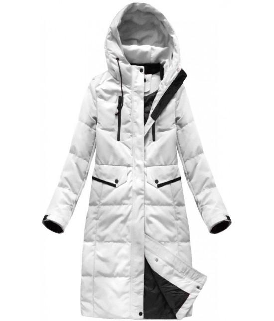 3848b1286114 Dámska dlhá zimná bunda MODA123 biela - Dámske oblečenie