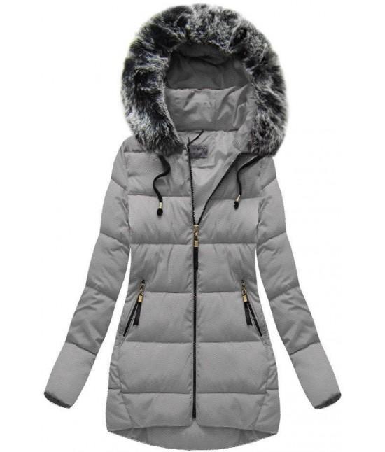 Dámska zimná bunda MODA026 šedá veľkosť L - Dámske oblečenie ... b9a57db0e58