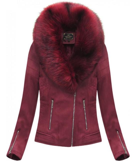 Dámska zimná zamatová bunda s kožušinou 6502 bordová