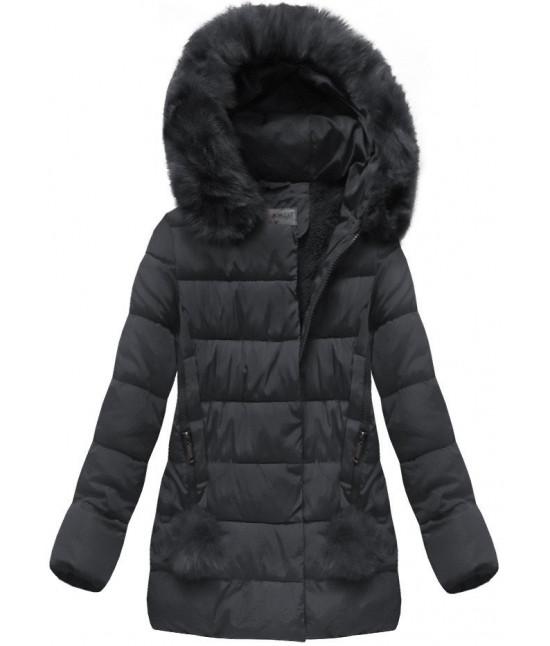 74ac1e9fdc Prešívaná dámska zimná bunda MODA572 tmavomodrá - Dámske oblečenie ...