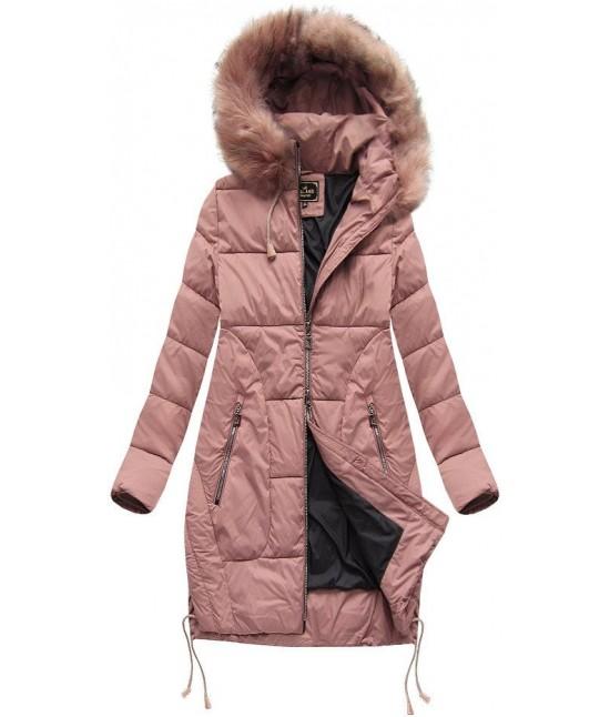 2e3e10b6eb2a Dámska zimná bunda s kapucňou MODA690 staroružová XL - Dámske ...