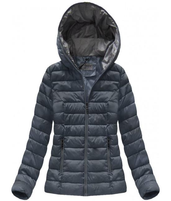 Krátka dámska prechodná bunda MODA013 tmavomodrá