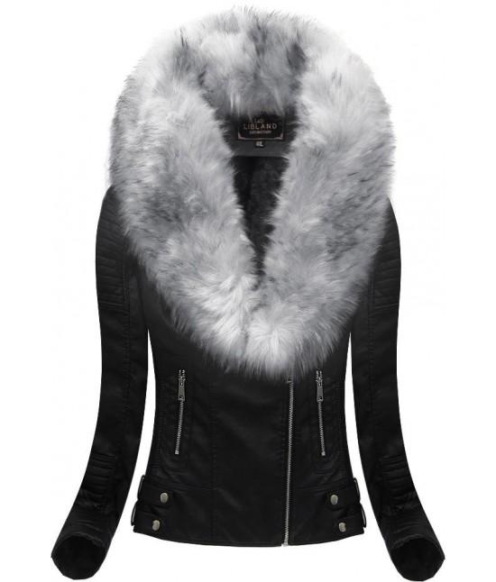 Dámska zimná koženková bunda LD5511BIG čierno-šedá veľkosť 3XL
