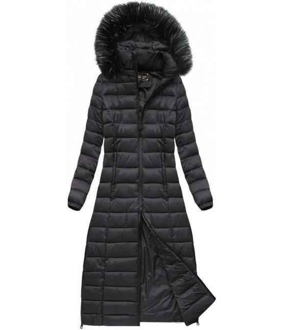 Dámska dlhá zimná bunda MODA758 baklažánová L - Dámske oblečenie ... 973b10e4df7