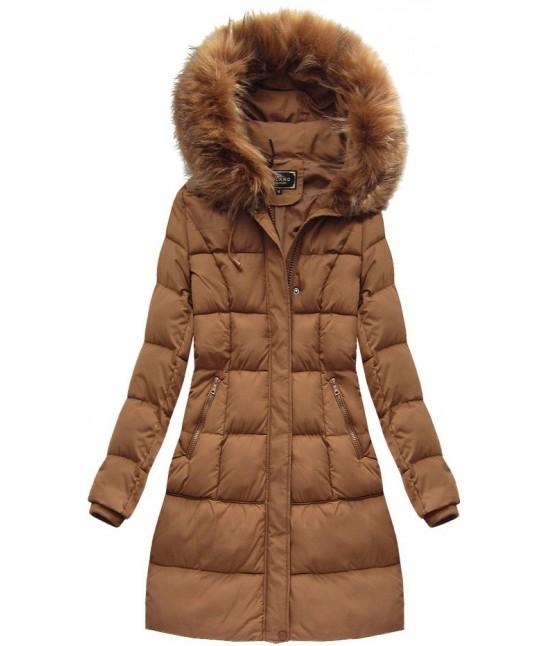 Dámska zimná bunda MODA757BIG karamelová 50 - Dámske oblečenie ... b8743728278