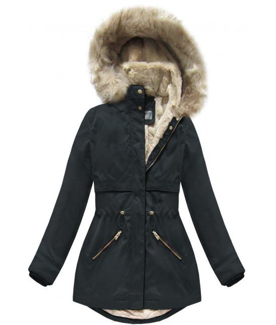 Teplá dámska zimná bunda parka MODA029 modrá - Dámske oblečenie ... d9148938ed9