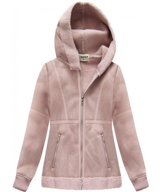 Dámsky semišový kabát s kapucňou pudrovoružový MODA1806
