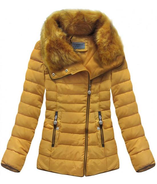Prešívaná dámska zimná bunda MODA058 žltá - Dámske oblečenie ... 2413fd4094c