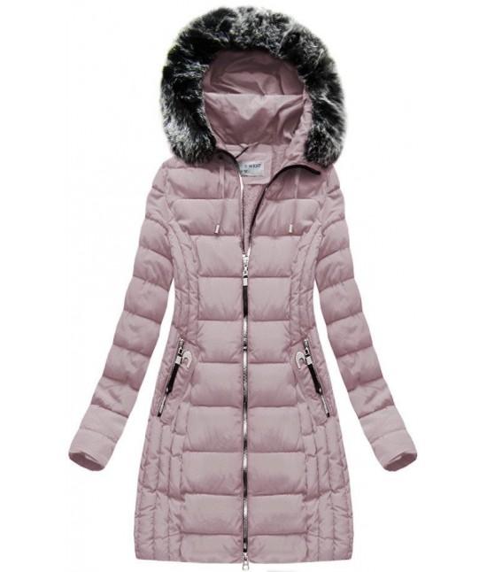 Dlhá dámska zimná bunda MODA056 púdrovoružová L - Dámske oblečenie ... c99c32b746e
